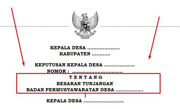 Contoh Surat Keputusan Tunjangan Badan Permusyawaratan Desa